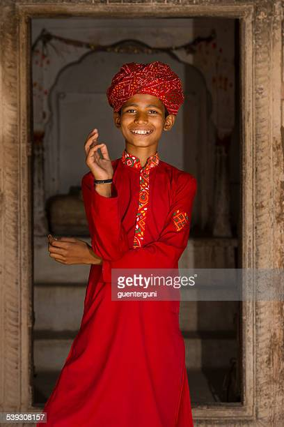 young boy in traditional clothing, Rajasthan, India