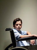 Young boy in wheel chair