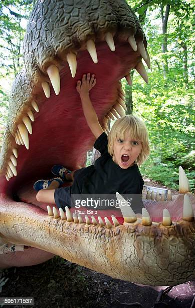 Young boy into the dinosaur jaw