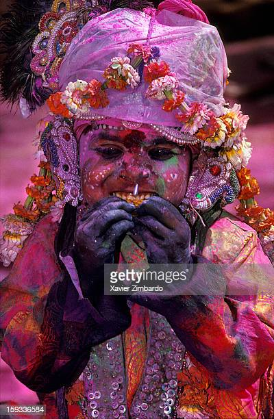 A young boy is madeup to perform Krishna at Barsana India on February 23 1991
