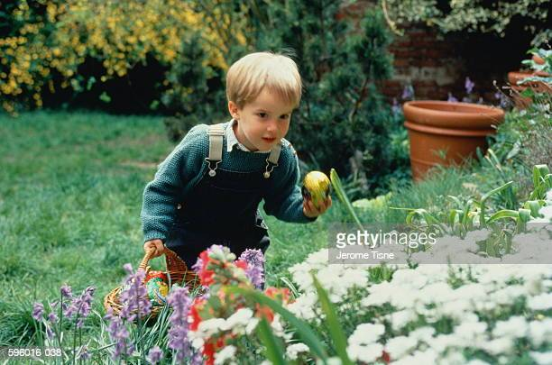 Young boy (3-5) looking for Easter eggs amongst plants in garden