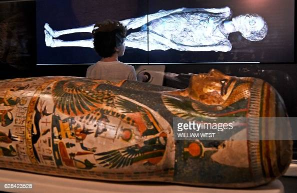 A young boy looks at a threedimensional image of a CT scan of an Egyptian mummy as the hidden secrets of Egyptian mummies up to 3000 years old have...