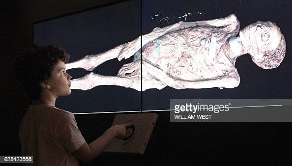 A young boy looks at a threedimensional image of a CT scan of an Egyptian mummy as the the hidden secrets of Egyptian mummies up to 3000 years old...
