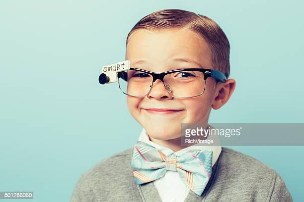 Young Boy Nerd Wearing Smart Glasses
