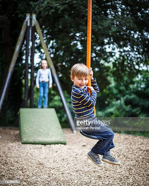 Young boy on a zip wire