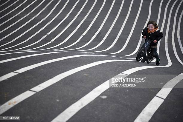A young boy on his bicycle climbs up a steep hill painted with lines at a recreational area in Copenhagen's Norrebro neighbourhood on October 10 2015...