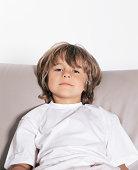 Young boy on sofa