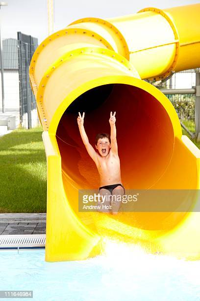 Young boy on waterslide in Reykjav?k, Iceland