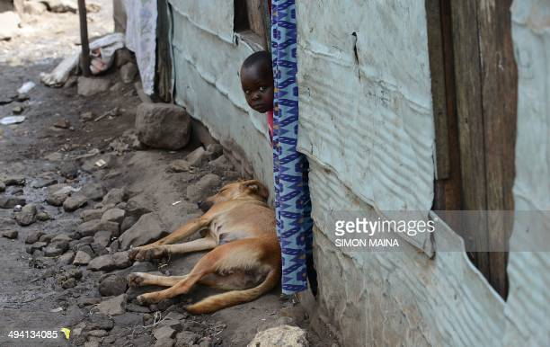 A young boy peeps from a door on May 28 2014 in Mathare one of the poorest slums in Nairobi Running water and electricity are scarce and trash and...