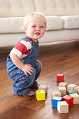 Young Boy Playing With Coloured Blocks At Home