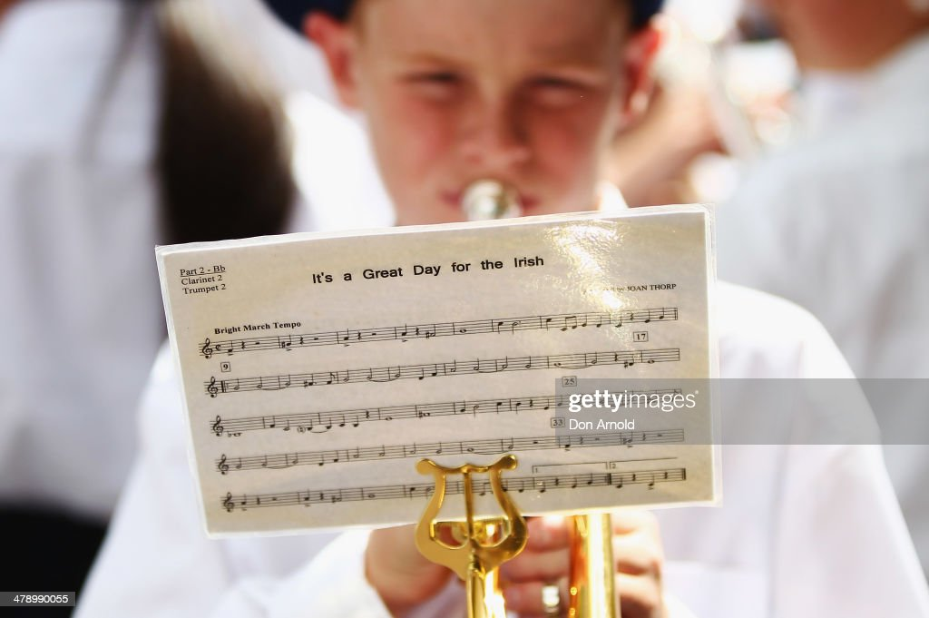 A young boy practices on his trumpet prior to marching in the parade on March 16, 2014 in Sydney, Australia. St Patrick's Day is an annual religious and cultural commemoration of the widely recognised patron saint of Ireland, Saint Patrick. March 17th, is a public holiday in Northern Ireland and the Republic of Ireland but is celebrated in many countries around the world where Irish diaspora have settled.