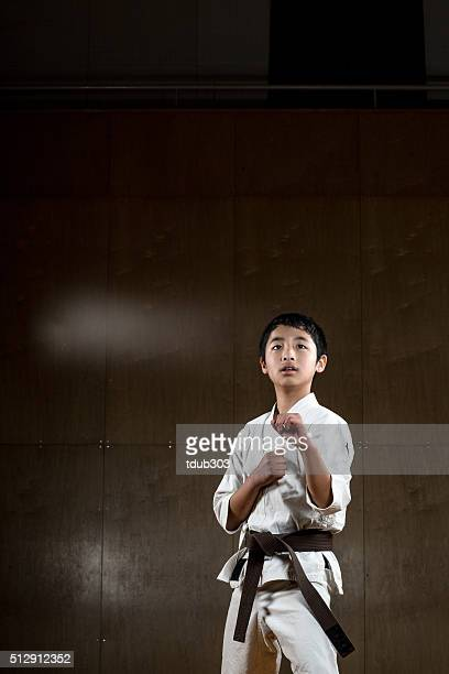 Young boy practicing karate