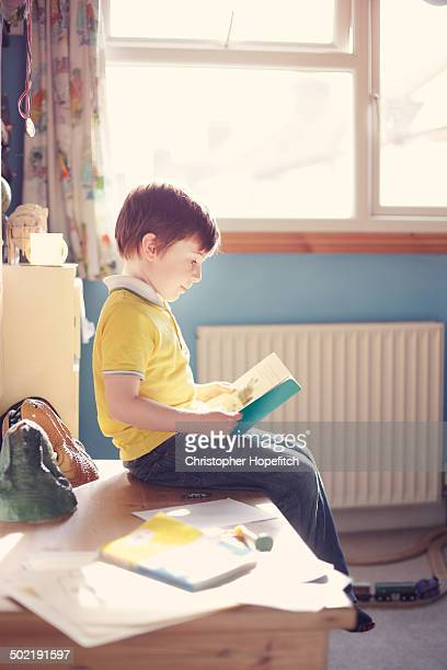 Young boy reading in his bedroom