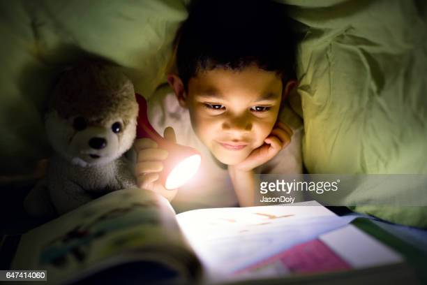 Young Boy Reading Under the Covers