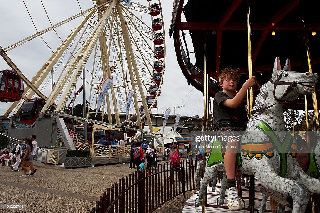 A young boy rides a carousel at the Sydney Royal Easter Show on March 22, 2013 in Sydney, Australia. Organisers are expecting over 900,000 visitors to the annual agricultural event, the largest of its kind in Australia. The Easter Show marks its 190th show since opening in Paramatta in 1823.