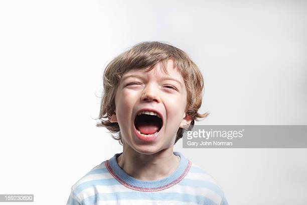 young boy shouting