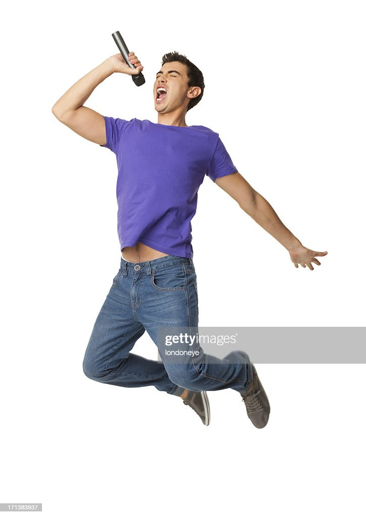 Young Boy Singing In Mid-air - Isolated