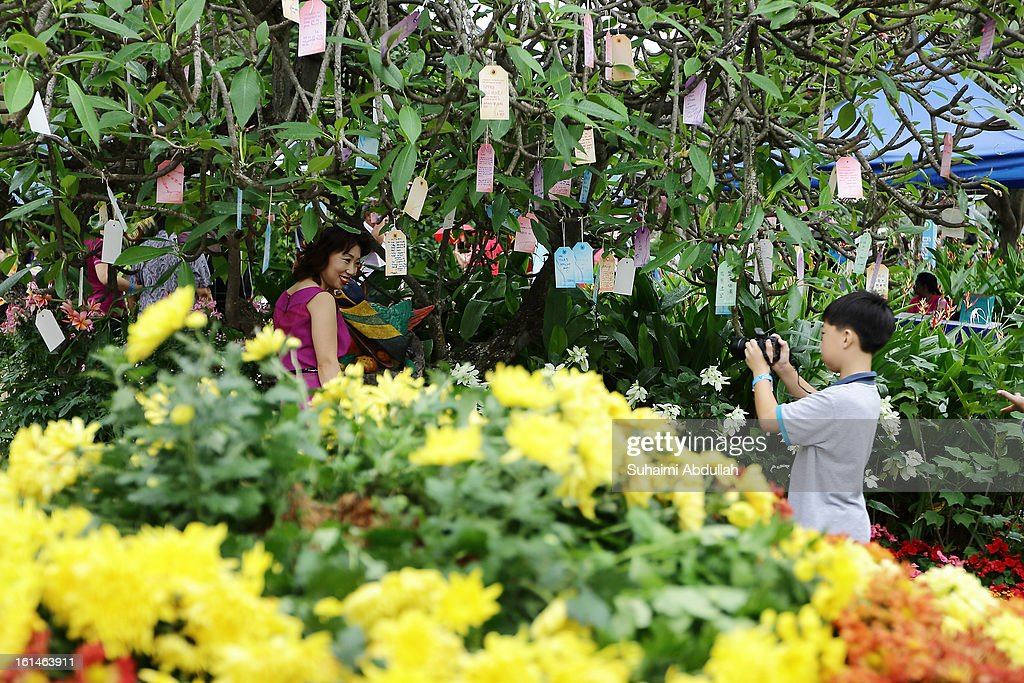 A young boy takes a photograph of his mother at the Sentosa Flowers exhibition at Palawan Beach on February 11, 2013 in Singapore. Millions of spring flowers decorate the island in celebration of the Chinese New Year, the year of the Snake.