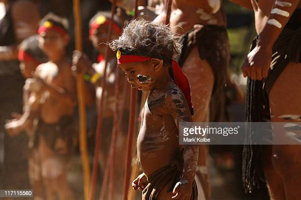 A young boy takes part in a performance during the Laura Aboriginal Dance Festival on June 18 2011 in Laura Australia The Laura Aboriginal Dance...