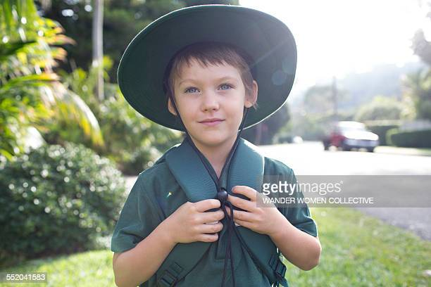 Young boy walking to school in Australia