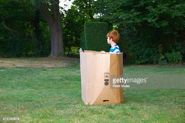Young boy watching from cardboard box in garden