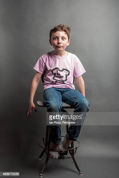 Young boy wearing anti-bullying shirt