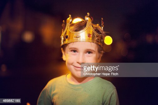 Young boy wearing crown : Stock Photo