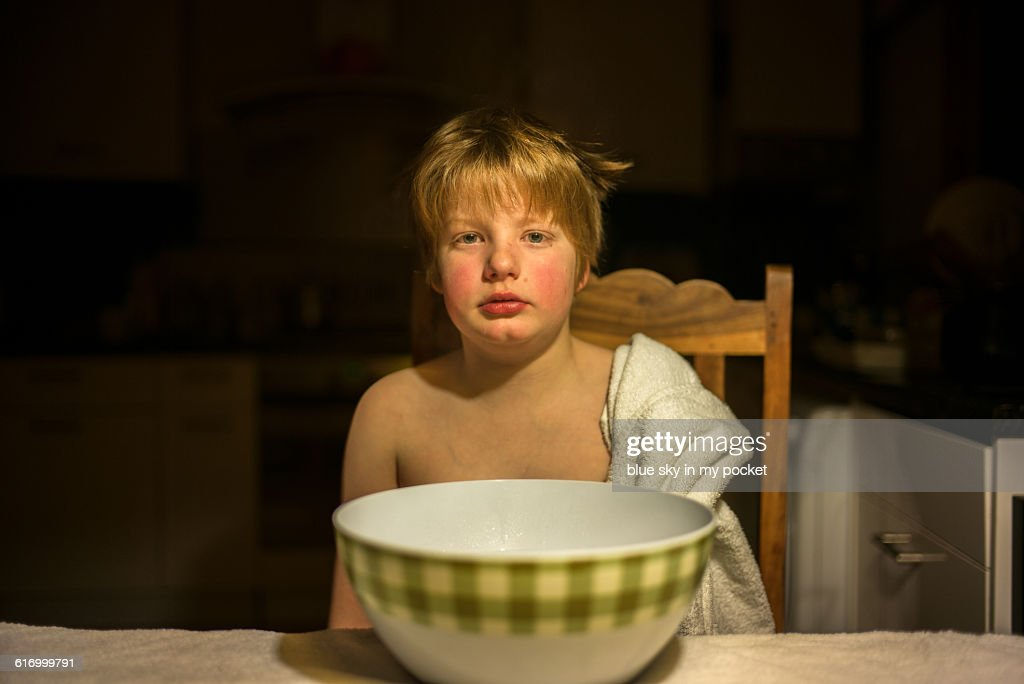 A young boy with a cold. : Stock Photo