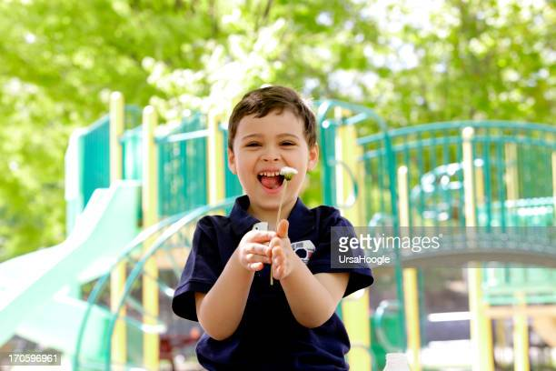 Young boy with autism laughing