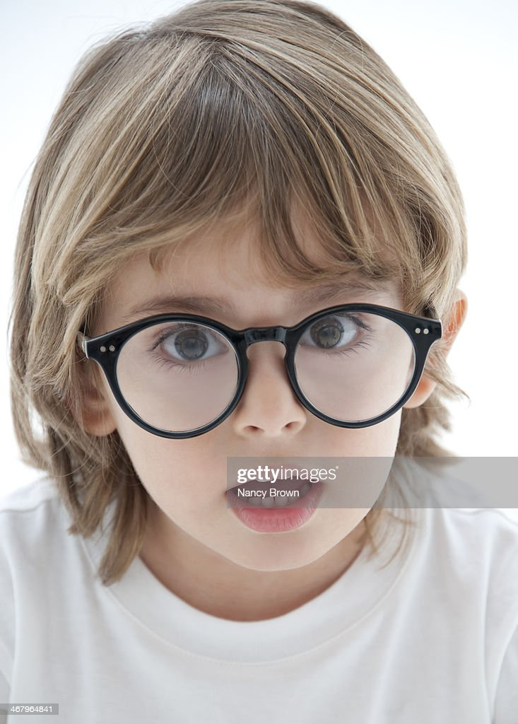 Young Boy with Big Glasses : Stock Photo