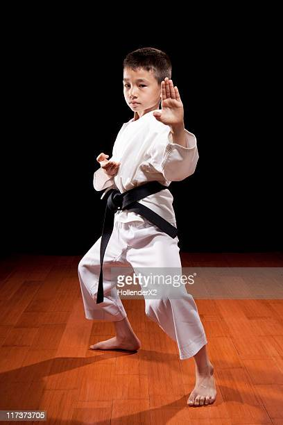 Young boy with black belt in Karate stance