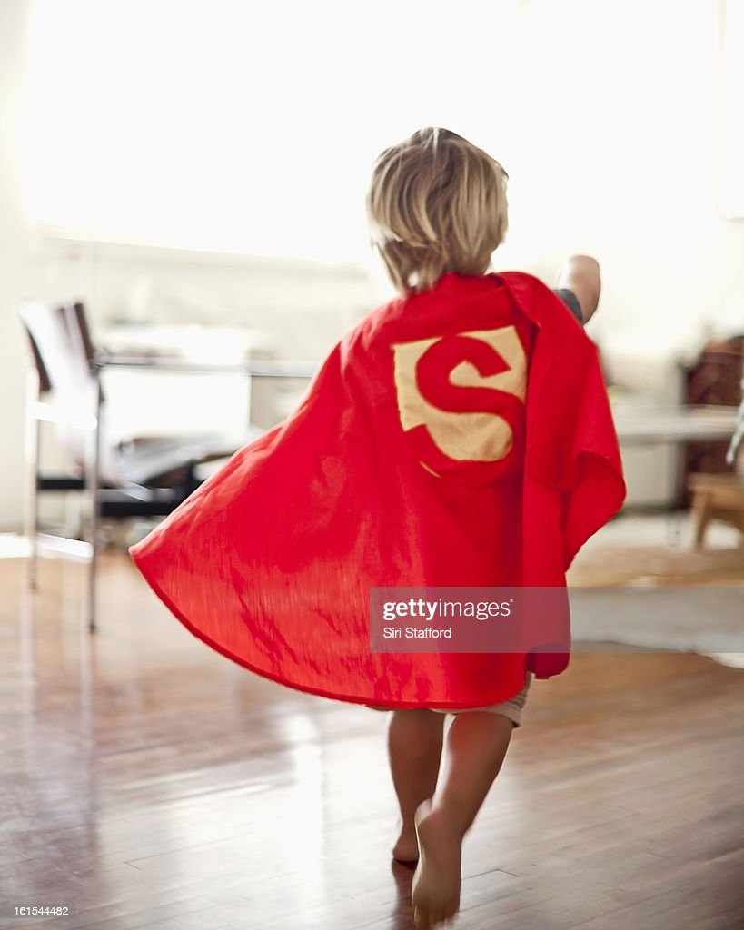 Young boy with homemade cape : Stock Photo