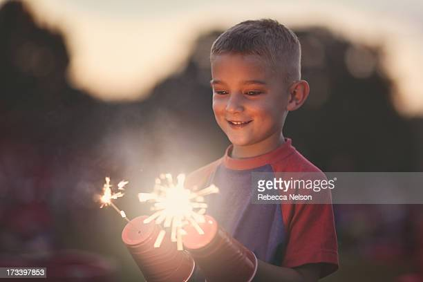 Young boy with sparklers