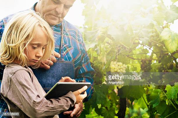 Young Boy with Tablet and Grandfather in Vineyard