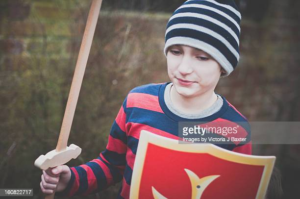 Young Boy wooden sword and a shield