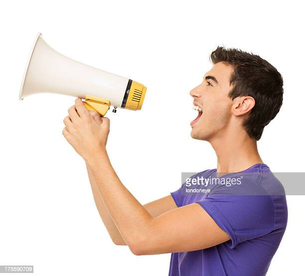 Young Boy Yelling Into Bullhorn - Isolated