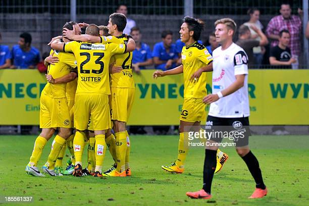 Young Boys celebrate the second goal of Moreno Costanzo of BSC Young Boys during the Swiss Super League match between FC Aarau v BSC Young Boys at...