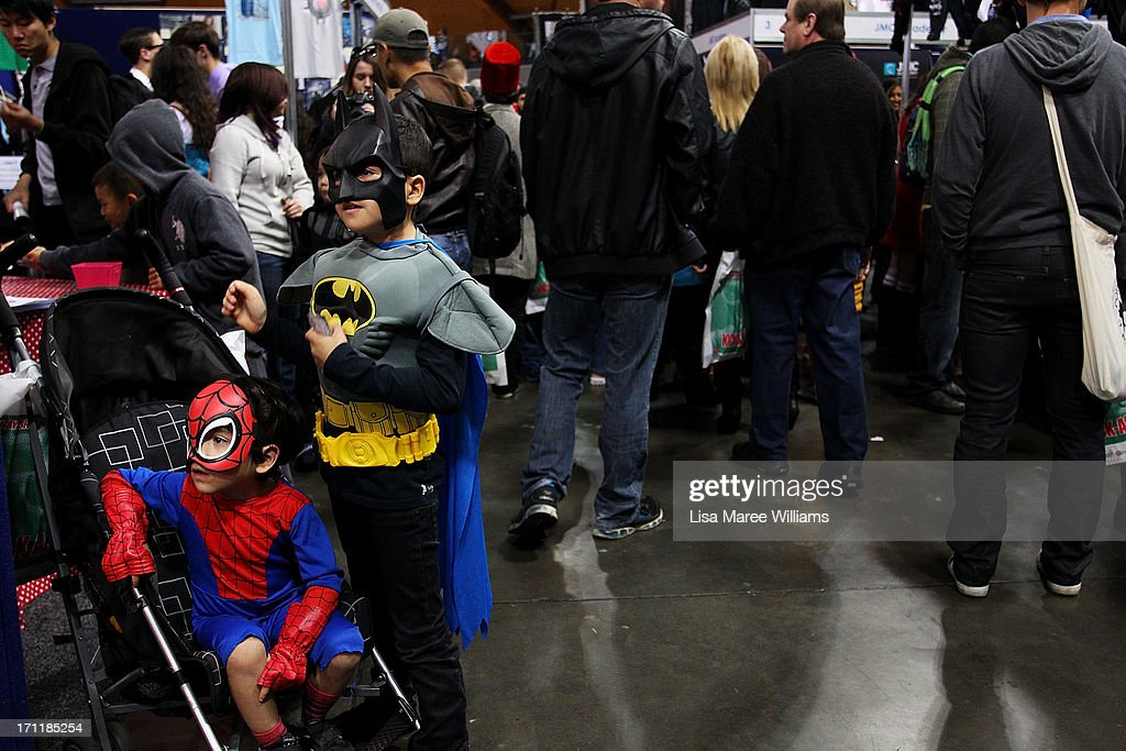 Young boys dress in costume during the 2013 Supanova pop culture festival at Sydney Showground on June 23, 2013 in Sydney, Australia.