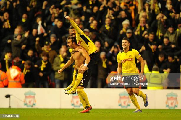 Young Boys' Elsad Zverotic celebrates scoring his teams second goal of the game with teammates Mathias Vitkieviez and Raul Marcelo Bobadilla