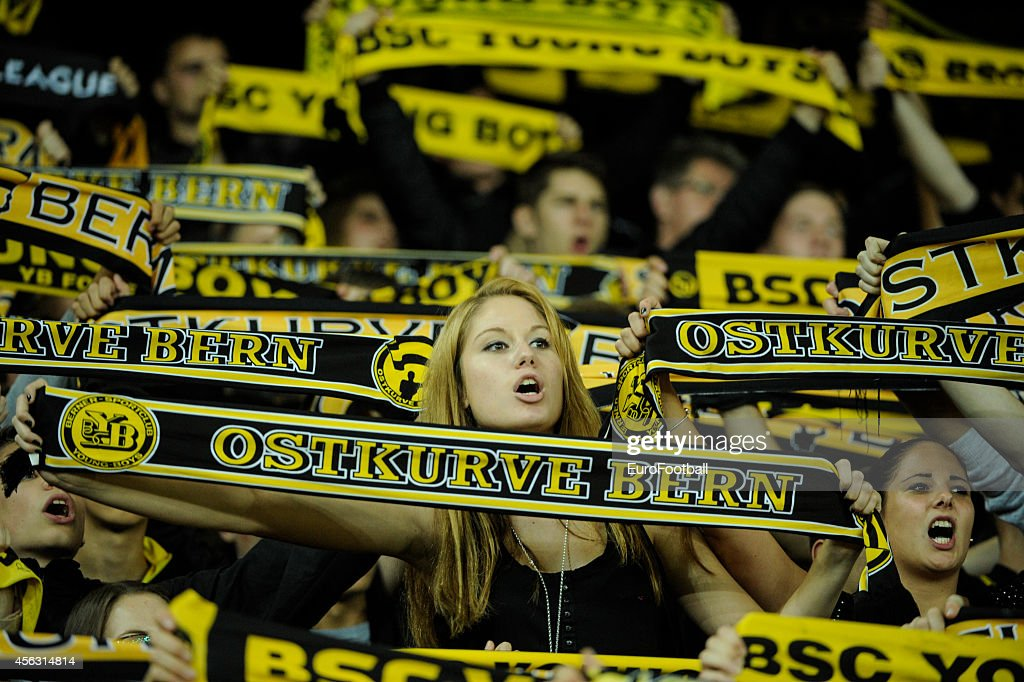 Young Boys fans during the UEFA Europa League match between BSC Young Boys and SK Slovan Bratislava at the Stade de Suisse on September 18 2014 in...