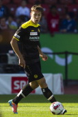 Young Boys forward Michael Frey controls the ball during the Swiss Super League football match between Grasshopper Club and BSC Young Boys held at...
