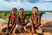 Young boys from Karo tribe, southern Ethiopia