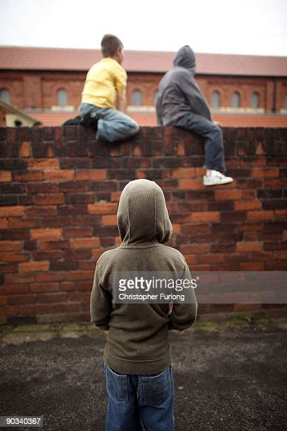 Young boys play near Edlington recreation ground close to the scene of the Edlington attacks on two young boys in April on September 4 2009 in...