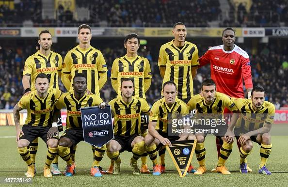 Young Boys' players pose priro to the EUFA Europa League football match Group I between BCS YoungBoys and Napoli on October 23 in Bern AFP PHOTO /...