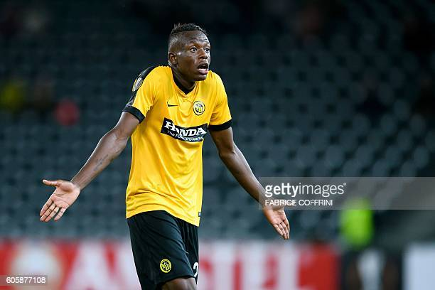 Young Boys' Swiss midfielder Denis Zakaria reacts at the end of the UEFA Europa League group B football match beetween BSC Young Boys and Olympiacos...