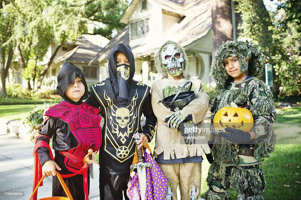 young boys trick or treating portrait : Stock Photo