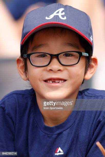 A young Braves fan prior to the major league baseball game between the Atlanta Braves and the Miami Marlins on September 10 at SunTrust Park in...