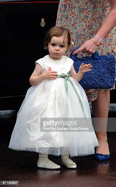 A young bridesmaid looks on at the wedding of Peter Phillips to Autumn Kelly at St George's Chapel in Windsor Castle on May 17 2008 in Windsor England
