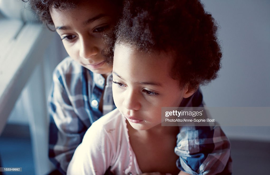Young brother and sister, portrait : Stock Photo