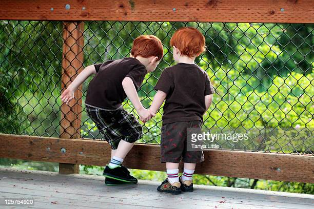 Young brothers looking over deck